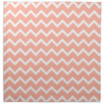 Coral and White Zig Zag Pattern. Cloth Napkins