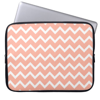 Coral and White Zig Zag Pattern. Computer Sleeve