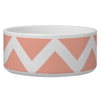 Coral and White Zig Zag Pattern. Dog Food Bowl