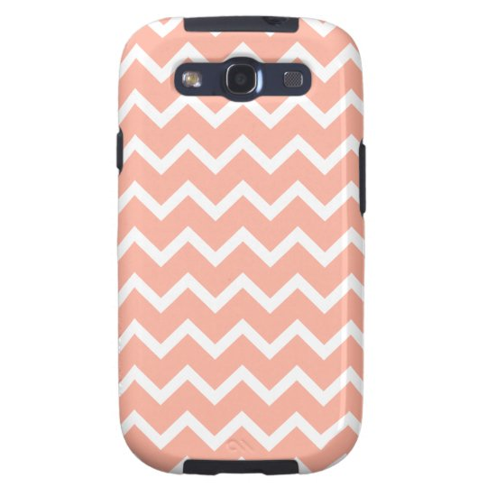 Coral and White Zig Zag Pattern. Galaxy S3 Case