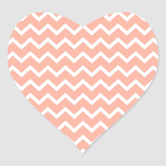 Coral and White Zig Zag Pattern. Heart Sticker