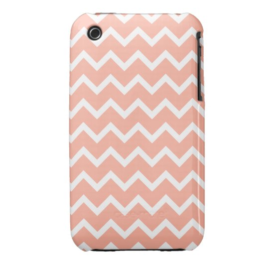 Coral and White Zig Zag Pattern. iPhone 3 Cover