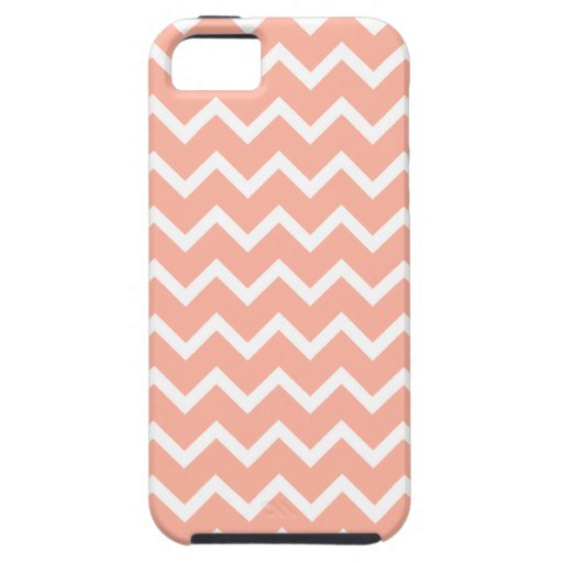 Coral and White Zig Zag Pattern. iPhone 5 Cases