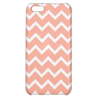 Coral and White Zig Zag Pattern. iPhone 5C Cases