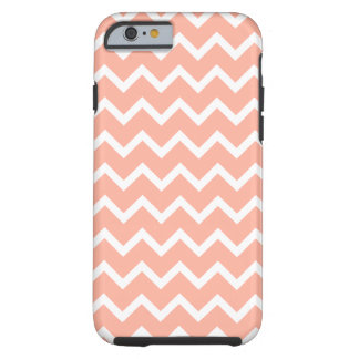 Coral and White Zig Zag Pattern. iPhone 6 Case