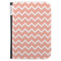 Coral and White Zig Zag Pattern. Kindle Cases