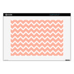 Coral and White Zig Zag Pattern. Laptop Decal