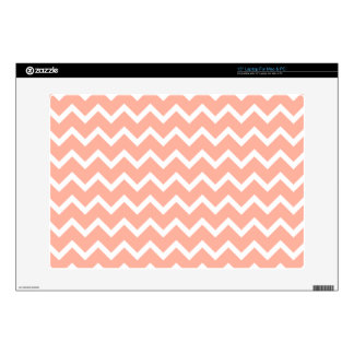 Coral and White Zig Zag Pattern. Laptop Decals