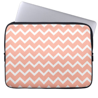Coral and White Zig Zag Pattern. Laptop Sleeve