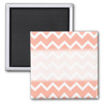 Coral and White Zig Zag Pattern. Magnet
