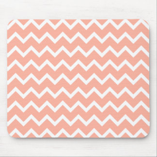 Coral and White Zig Zag Pattern. Mouse Pad