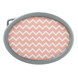 Coral and White Zig Zag Pattern. Oval Belt Buckles