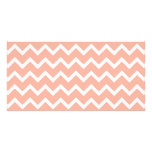 Coral and White Zig Zag Pattern. Photo Card