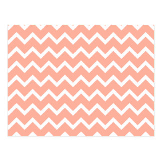 Coral and White Zig Zag Pattern. Post Cards