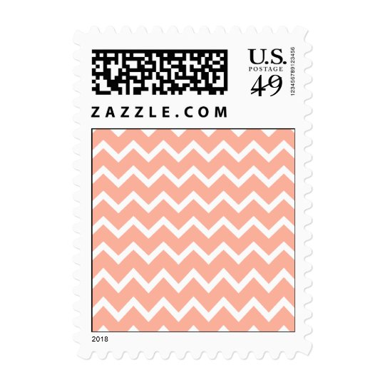 Coral and White Zig Zag Pattern. Postage