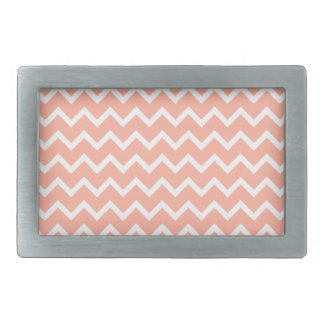 Coral and White Zig Zag Pattern. Rectangular Belt Buckles