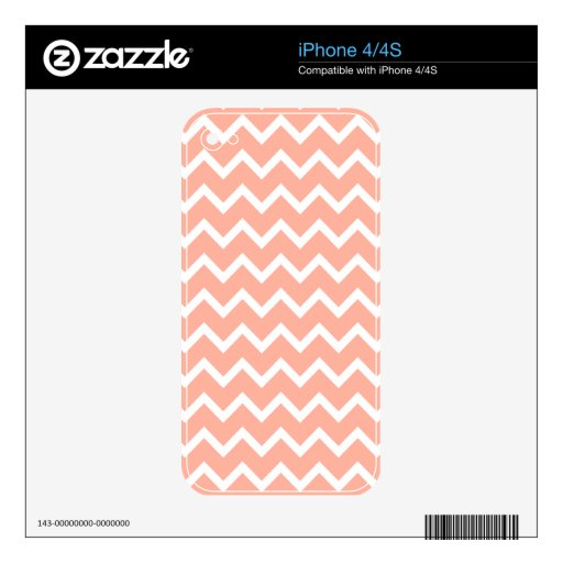 Coral and White Zig Zag Pattern. Skins For The iPhone 4S