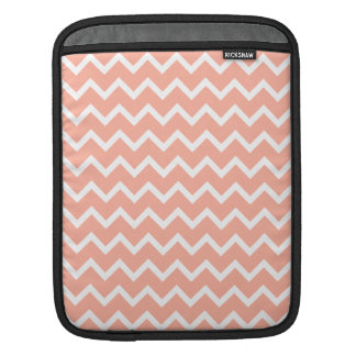 Coral and White Zig Zag Pattern. Sleeve For iPads
