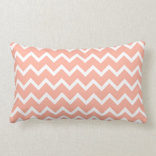 Coral and White Zig Zag Pattern. Throw Pillow