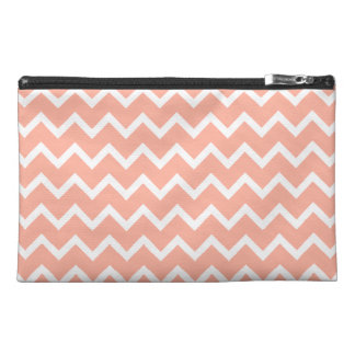Coral and White Zig Zag Pattern. Travel Accessory Bag