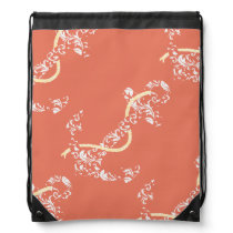 Coral and Yellow Anchor Beach Wedding Drawstring Bag