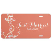 Coral and Yellow Anchor Beach Wedding License Plate at Zazzle