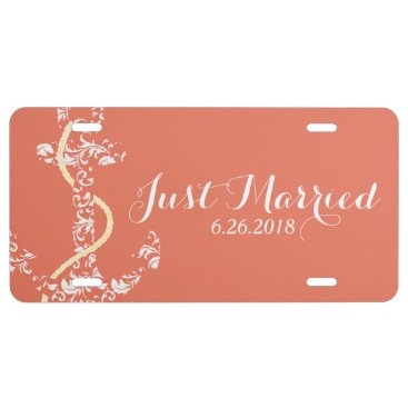 Beach Themed Coral and Yellow Anchor Beach Wedding License Plate