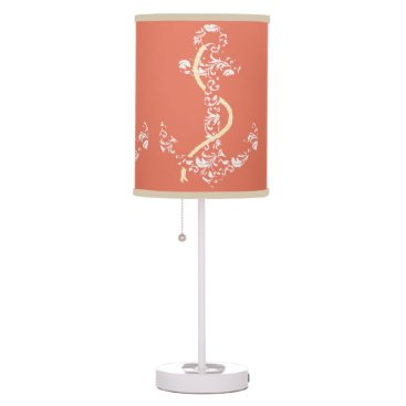 Beach Themed Coral and Yellow Anchor Beach Wedding Table Lamp