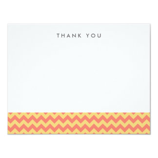 Coral and Yellow Chevron Thank You Note Cards