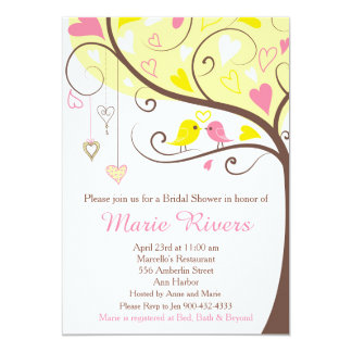 Coral and Yellow Floral Bird Bridal Shower Card