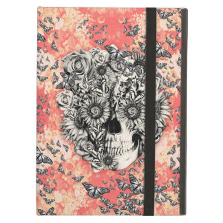 Coral and yellow floral skull with butterflies cover for iPad air