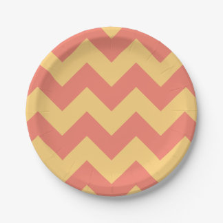 Coral and Yellow Modern Chevron 7 Inch Paper Plate