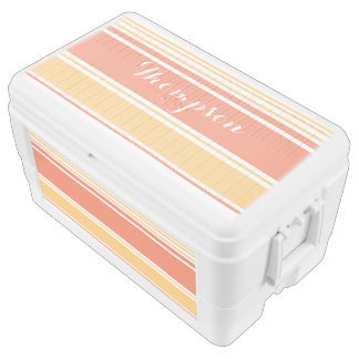 Coral and Yellow Modern Stripes Cooler
