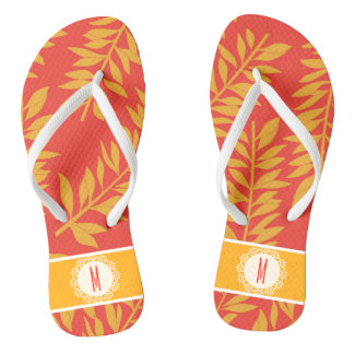Coral and Yellow Tropical Cabana with Monogram Flip Flops