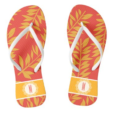 Beach Themed Coral and Yellow Tropical Cabana with Monogram Flip Flops