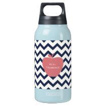Coral Apple & Navy Chevron Teacher Insulated Water Bottle