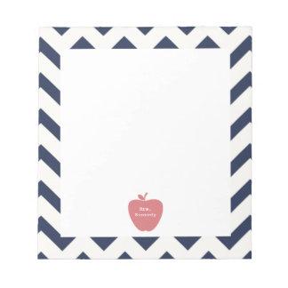 Coral Apple Navy Chevron Teacher Memo Notepad