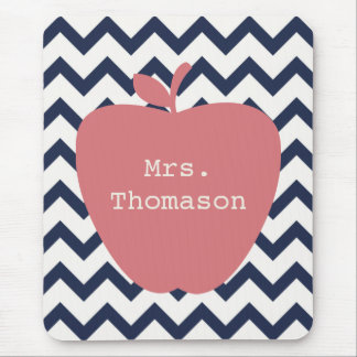 Coral Apple & Navy Chevron Teacher Mouse Pad