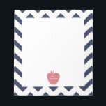 "Coral Apple Navy Chevron Teacher Notepad<br><div class=""desc"">A gift for teachers featuring an illustration of a coral apple over a navy chevron background.</div>"