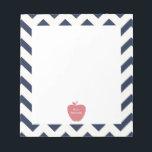 """Coral Apple Navy Chevron Teacher Notepad<br><div class=""""desc"""">A gift for teachers featuring an illustration of a coral apple over a navy chevron background.</div>"""