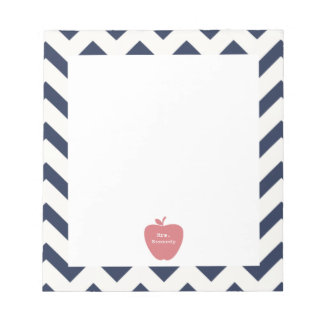 Coral Apple Navy Chevron Teacher Notepad