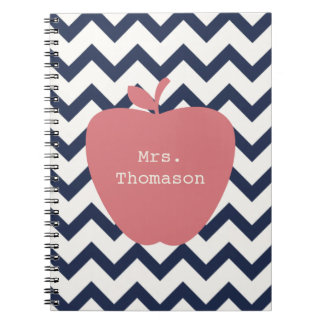 Coral Apple & Navy Chevron Teacher Spiral Notebook
