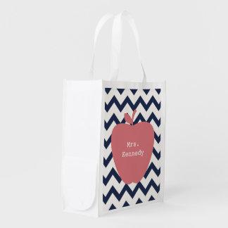 Coral Apple Navy Chevron Teacher Reusable Grocery Bags