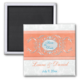 Coral, Aqua, and Gray Damask Save the Date Magnet