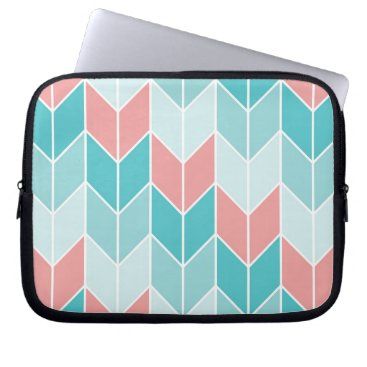 Aztec Themed Coral Aqua Blue Large Chevrons Computer Sleeve