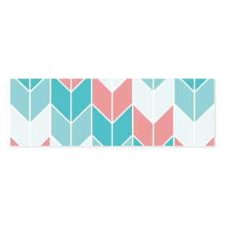 Coral Aqua Blue Large Chevrons Double-Sided Mini Business Cards (Pack Of 20)