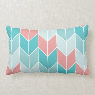 Aztec Themed Coral Aqua Blue Large Chevrons Lumbar Pillow