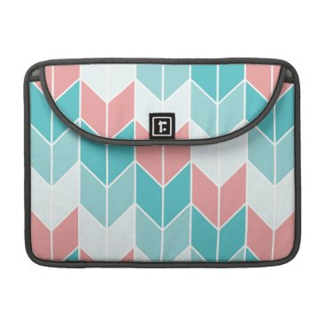 Aztec Themed Coral Aqua Blue Large Chevrons MacBook Pro Sleeve