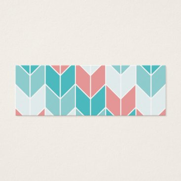 Aztec Themed Coral Aqua Blue Large Chevrons Mini Business Card