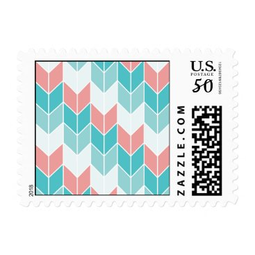 Aztec Themed Coral Aqua Blue Large Chevrons Postage